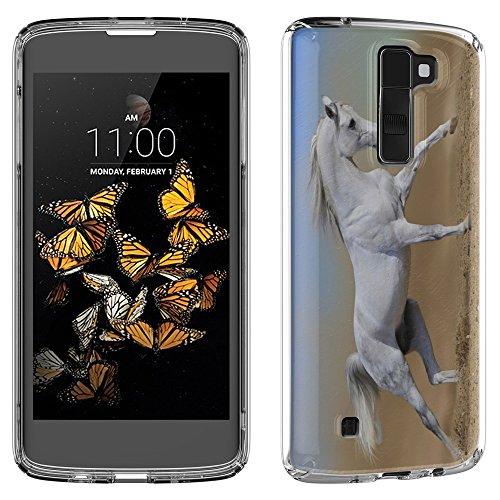 Pferde 10008, Weißes Pferd, Das Kristallklare Ultradünn Gel Crystal Silikon Handyhülle Schutzhülle Handyschale mit Strukturierte Design für LG K8