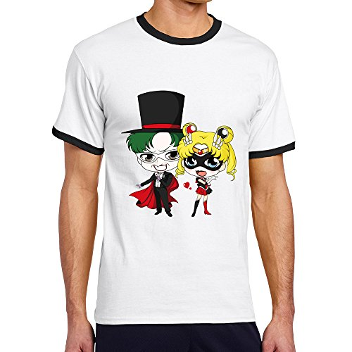 Men's Cool Cute Cartoon Of Harley Quinn Contrast Ringer Tee L Black