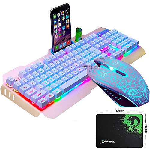 LexonElec@ Technology Keyboard Mouse Combo Gamer Wired Rainbow LED Backlit Metal Pro Gaming Keyboard + 2400DPI 6 Buttons Mouse + Mouse Pad for Laptop PC (White & Rainbow Backlit Pattern Mouse) by LexonElec@