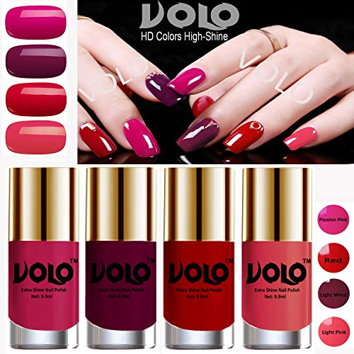 Volo HD Colors High-Shine Long Lasting Non Toxic Professional Nail Polish Set of 4 (Passion Pink, Red, Light Wine and Light Pink)