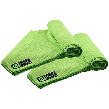 Fit Spirit Set of 2 Super Absorbent Microfiber Non Slip Skidless Sport Towels (32x72) - Green Towels