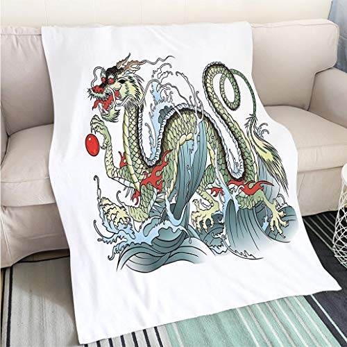 BEICICI Art Design Photos Cool Quilt Japanese Dragon Far Eastern Water Dragon Splashing Waves Legend Creature Pale Green Vermilion Sage Fashion Ultra Cozy Flannel Blanket