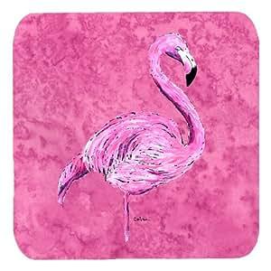 "Caroline's Treasures 8875FC Flamingo on Pink Foam Coasters (Set of 4), 3.5"" H x 3.5"" W, Multicolor"
