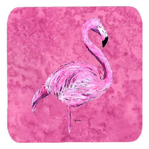 (Caroline's Treasures 8875FC Flamingo on Pink Foam Coasters (Set of 4), 3.5