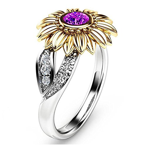 Floral Gold Jewelry Box - YOUNICE Women Two Tone Silver Floral Ring Diamond Gold Sunflower Jewelry Mother Gift