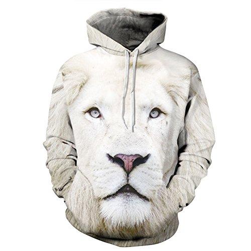 (Hulaha 3d Unisex White Tiger Plus Size Hoodies Sweatshirt)