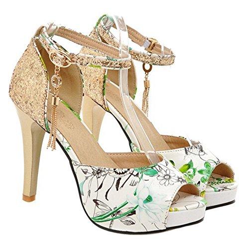 Peep Sandales 1 AicciAizzi Toe Femmes green w5Sx1v6znq