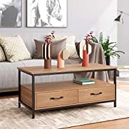 HOMECHO Coffee Table for Living Room, Rustic Cocktail Table with Bidirectional Drawers, Sofa Center Table with