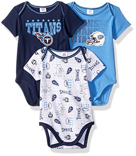 NFL Tennessee Titans Boys Short Sleeve Bodysuit (3 Pack), 6-12 Months, Navy