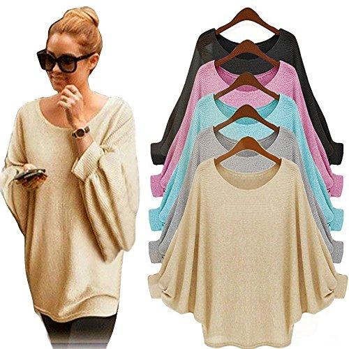 Blusa para Mujeres - Rcool - Blusa Suelta de Talla Grande Oversized Camiseta con Mangas Largas de Murciélago T Shirt Pullover Sudadera Gris