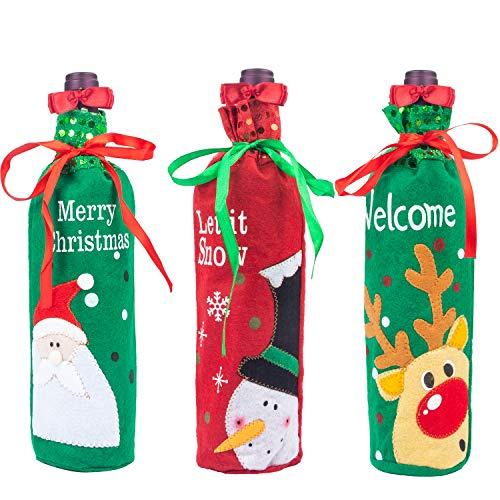 e Bottle Cover Santa Snowman Reindeer Decorations Table Centerpiece Champagne Gift Bags ()