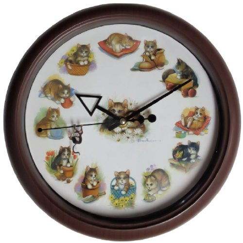 Playful Cats & Kittens Round Wall Clock Kitty Sounds at Hour