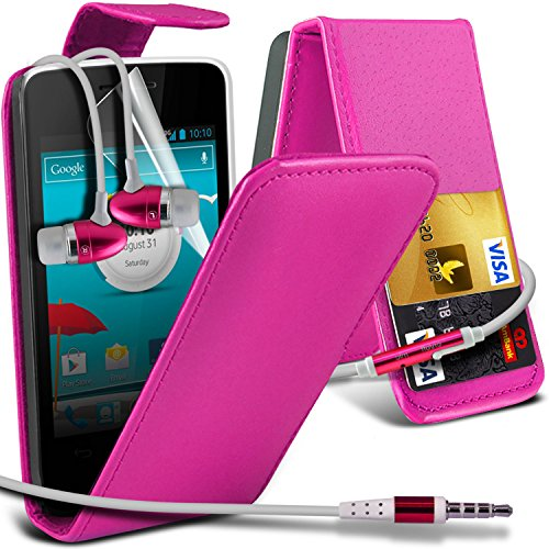 ( Hot Pink ) Vodafone Smart 4 Mini Premium Faux Credit / Debit Card Slot Leather Flip Skin Case Cover & LCD Screen Protector Guard & Aluminium In Ear Earbud Stereo Hands Free Earphone with Built in Mic & On-Off Button by Fone-Case