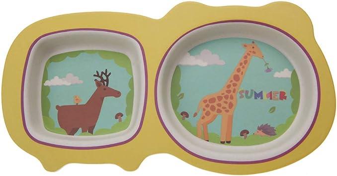 Dinosaurier 5 Teile Nat/ürliche Bambusfaser Kinder Geschirr Set Tier Cartoon Design Kinder Teller Sch/üssel Gabel L/öffel Tasse f/ür Baby Kinder F/ütterung Liefert