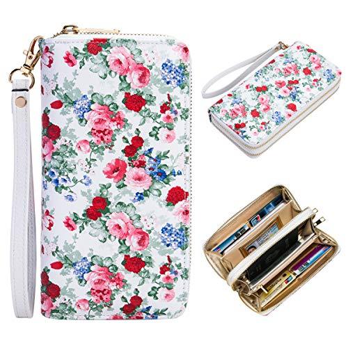 Heaye Animal Skin Floral Print Women Wristlet Wallet RFID Blocking Double Zip Ladies Travel Wallet 16 Card Slots Large Size (Whiet-Flower 1) ()