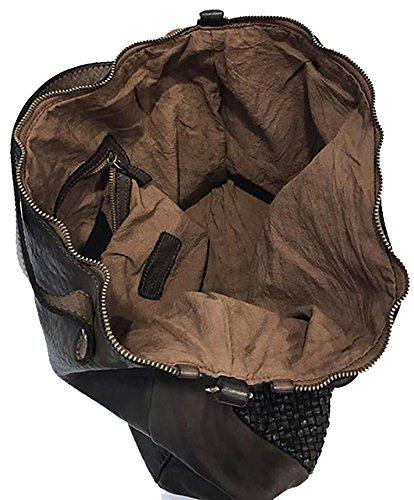 Borsa Paul.hide Artemide Donna Pelle Lavata Tinta In Capo Vintage A Mano A Spalla A Tracolla Regolabile Rimovibile Marrone Scuro Cioccolato 38 x 30 x 13 cm