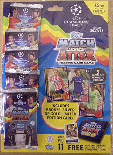 2017 / 2018 Topps CHAMPIONS LEAGUE Match Attax Cards MULTIPACK. Contains Five (5) 9-card Packs (45 Cards Total) One of Which Contains a Bronze, Silver or Gold Limited Edition Card of a Star Player! (Card Bronze Limited Edition)