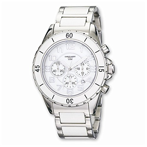 Charles-Hubert, Paris Men's 3754-W Premium Collection White Ceramic and Stainless Steel Chronograph Watch