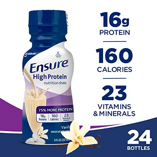 Ensure High Protein Nutrition Shake with 16 grams of high-quality protein, Meal Replacement Shakes, Low Fat, Vanilla, 8 fl oz, 24 count