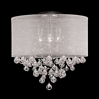 21 Inches , 4 Lamp Flush Mount Crystal Balls Ceiling Light Fixture Drum Round Shade Chandelier