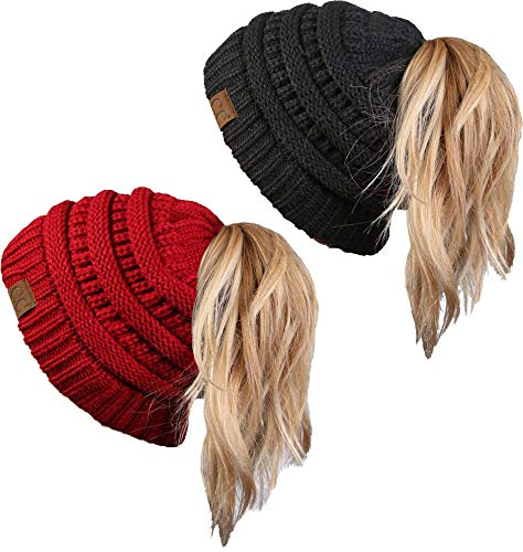 BT-6020a-2-4270 Messy Bun Beanie Tail Bundle - Red & Charcoal (2 Pack)