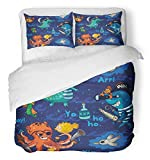 Emvency 3 Piece Duvet Cover Set Breathable Brushed Microfiber Fabric Animal with Underwater Pirates Crocodile Octopus Shark Crab Cute Baby Ocean Cartoon Bedding with 2 Pillow Covers Full/Queen Size