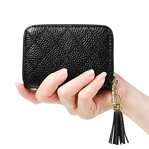 Wallets Black Card Credit - Women's RFID Blocking 15 Slots Card Holder Leather Zipper Accordion Wallet,Black