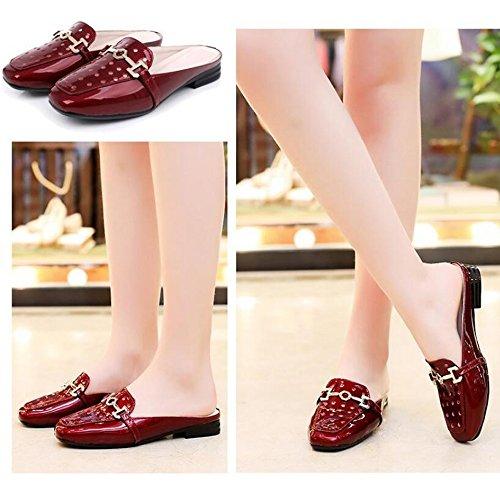 Viola Grandi Pantofole Esterno Infradito Fondo Signore Vernice Coreana Versione Piatto Sandali Dimensioni e Abbigliamento Moda H6xxg