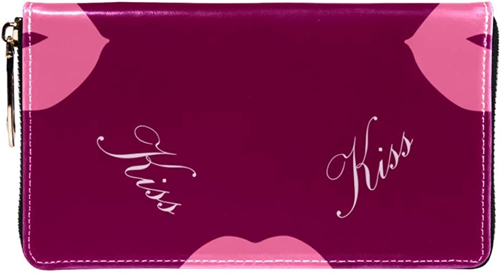 Womens Zip Around Wallet and Phone Clutch,Travel Purse Leather Clutch Bag Card Holder Organizer Wristlets Wallets,Love Kisses
