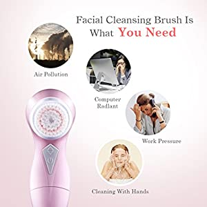 Electric Facial Brush Ultrasonic Vibration Face Cleansing Brush with 2 Brush Heads 60s Auto-off Makeup Remove Pore Cleanser, Pink. Hepburn.S