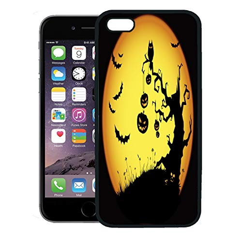 Semtomn Phone Case for iPhone 8 Plus case,Orange Tree Halloween Yellow Scary Spooky Pumpkin Silhouette Moon iPhone 7 Plus case Cover,Black -