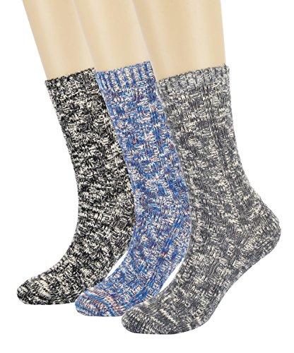 - Eleray Women's Vintage Thick Knit Warm Comfort Wool Socks Crew Slipper Boot Socks (3-Pairs Assorted(B))