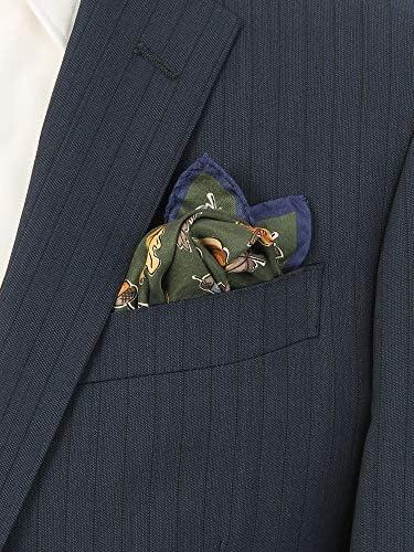 (ザ・スーツカンパニー) MADE IN ITALY/オータムモチーフプリント シルクポケットチーフ グリーン系
