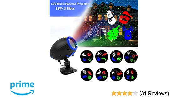 Music Christmas Lights Projector, 8 Slides Indoor Outdoor Holiday Lights, Remote Control Multiple Working Modes for Halloween Xmas Home Party Garden Bar ...