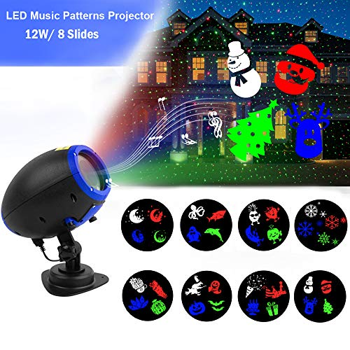 Music Christmas Lights Projector, 8 Slides Indoor Outdoor Holiday Lights, Remote Control Multiple Working Modes for Halloween Xmas Home Party Garden Bar Wall Decorations ()