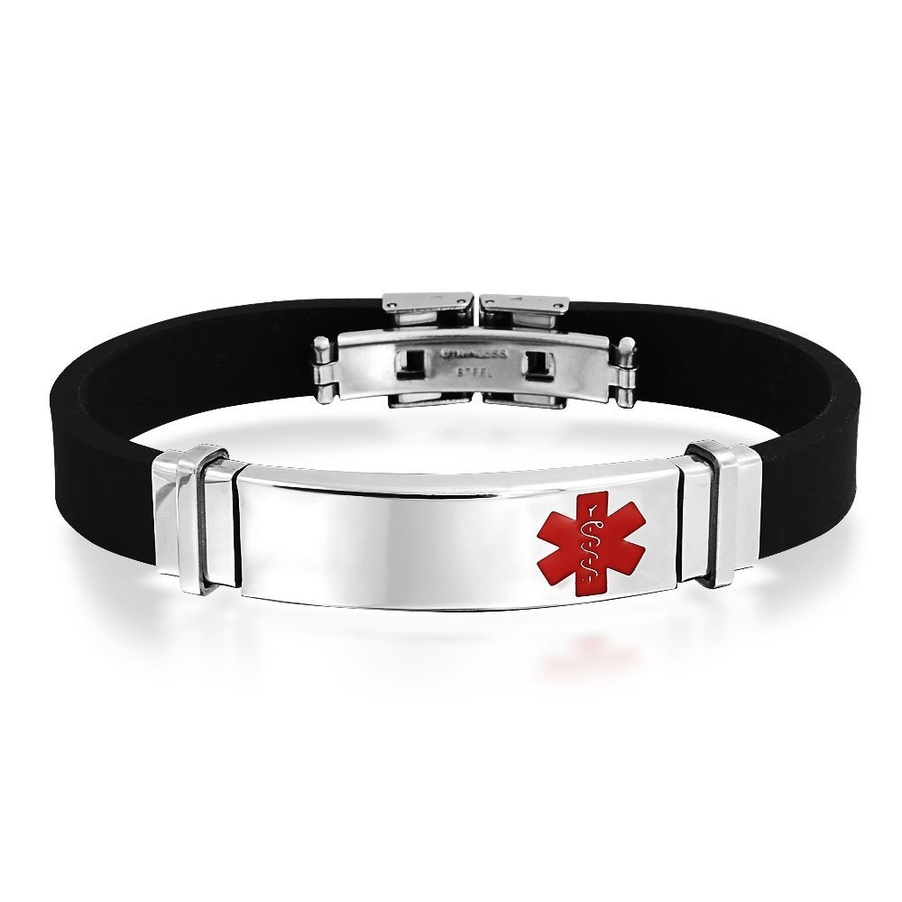Bling Jewelry Mens Black Rubber Stainless Steel Medical Alert ID Bracelet SWK-HYB-0916-MD