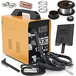 ARKSEN MIG-130 Gas-Less Flux Core Wire Welder Welding Machine Automatic Feed, Yellow