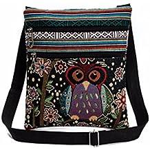 Hot Sale! Clearance! Women Bag,Todaies Embroidered Owl Tote Bags Women Shoulder Bag Handbags Postman Package (23.5cm(H)×1cm(W)×21cm(L), D)