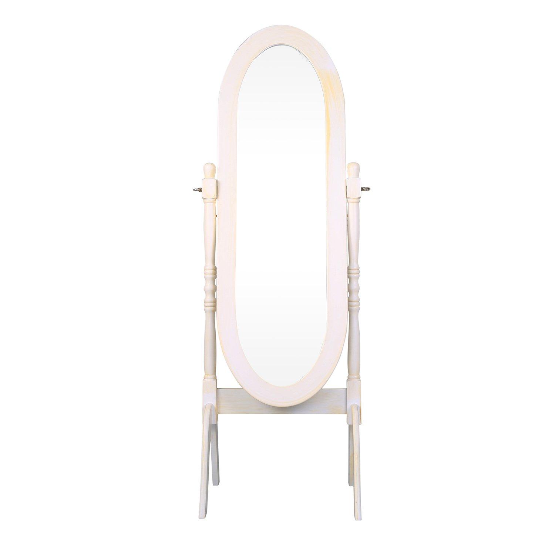 Cheval Mirror,Yalatan Wooden Dressing Mirror Bedroom Free Standing Mirror Full Length Large Floor Mirror,White Finish by Yalatan