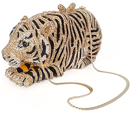 mossmon Luxury Crystal Clutches For Women Tiger Evening Bag (gold/style B) by Mossmon (Image #1)