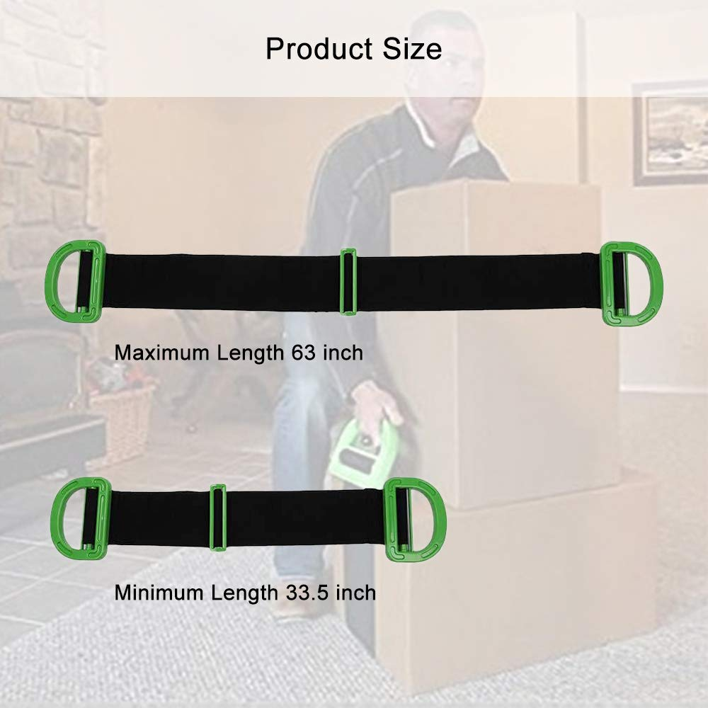 Lifting and Carrying Strap for Boxes Heavy Objects up to 500 Pounds Furniture Adjustable Moving Strap Appliances Mattress Length 63.2inch, Width 3.9inch