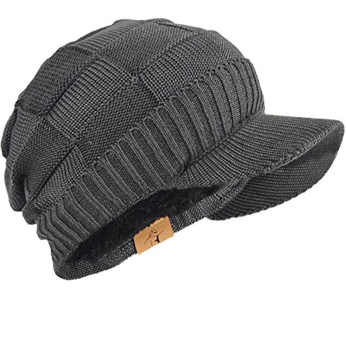 FORBUSITE Mens Chunky Fleece Winter Visor Beanie Knit Cap Hat B322 (Chunky Visor)