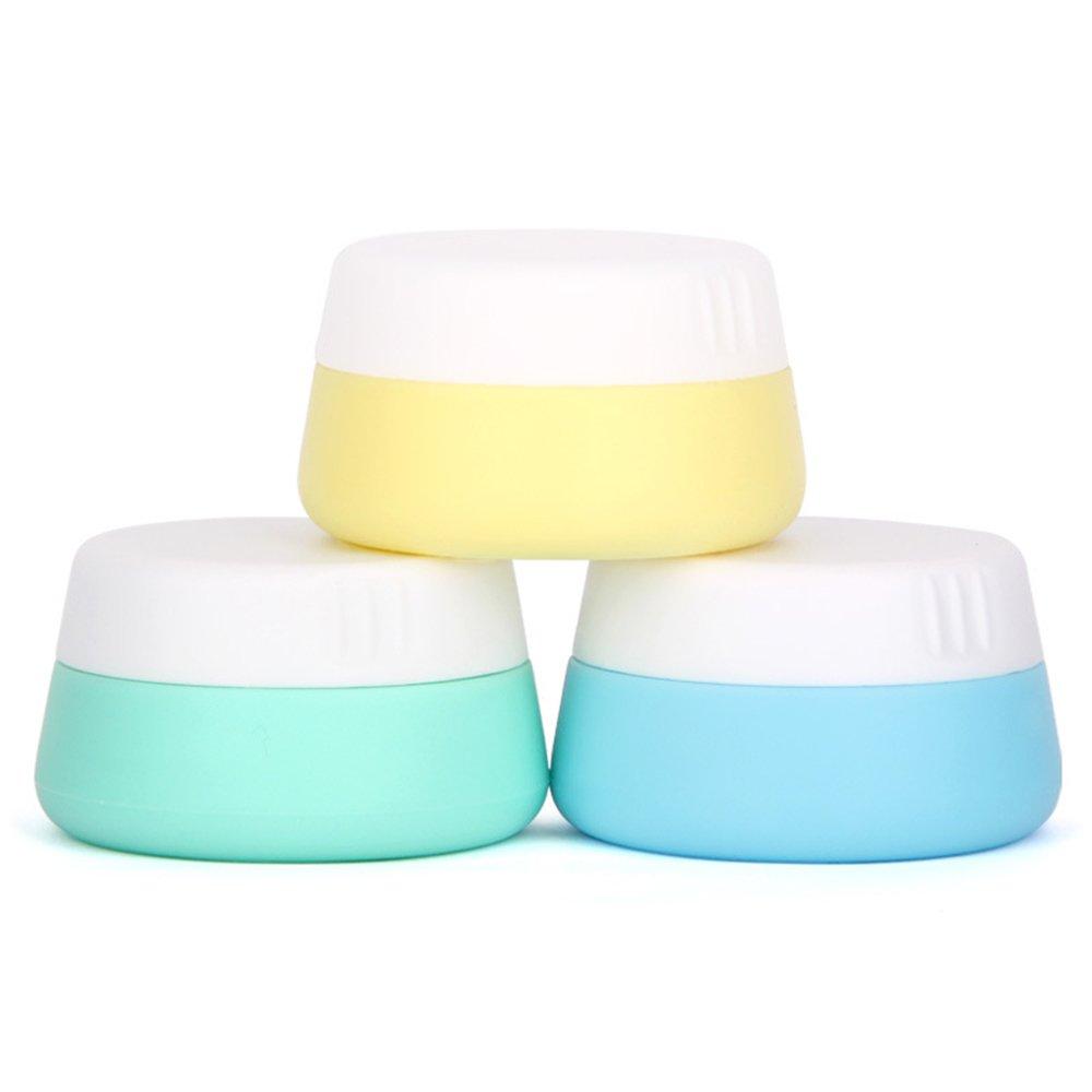 Gracelaza 3 Pcs Set Silicone Cosmétiques Conteneur Bouteilles avec Couvercle Scellé - Exquis Maquillage Flacons - Idéal Accessoires pour Voyage et Usage Domestique (Capacité: 10ml)
