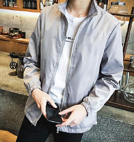 Zip Mens Size Grey Mandarin Plus Color Pockets Jackets Solid Collar Full RkBaoye 8E1xdE