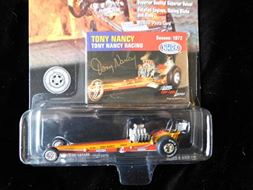 (Tony Nancy Racing (rare chase white lightning printed on tire)Top Fuel Dragster Legends 1:64 scale die-cast dragster by Johnny Lightning)