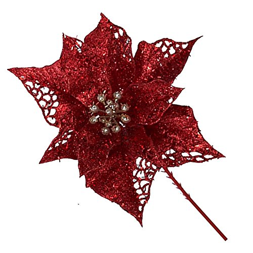 Sparkle Glittered Poinsettia Pick 6.5In H4765-RED Christmas Flowers ()
