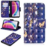 Ostop Huawei P20 Lite Wallet Case,3D Cute Printed Pattern Leather Case Kickstand Card Holder Magnetic Flip Folio Cover,Gold Butterfly Purple PU