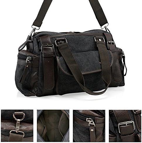 Men Vintage Leather Canvas bag Messenger Shoulder School Travel Gym Bag Duffle