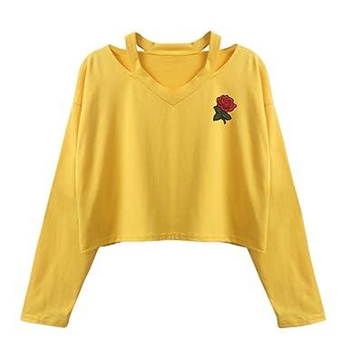 ❤ Sudadera con Mangas largas para Mujer,Blusa Casual Tops con Estampado de Rosas Absolute: Amazon.es: Ropa y accesorios