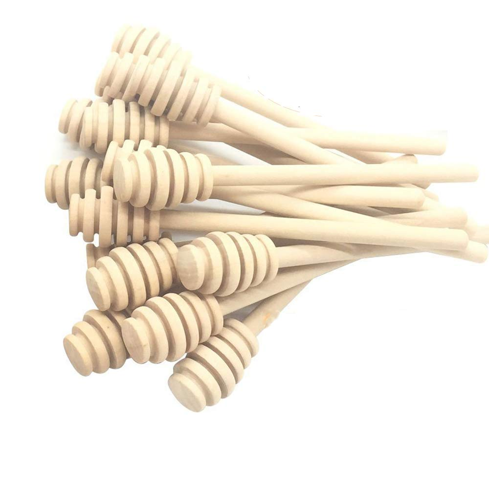 Wooden Honey Stirrer 6 Inch Portable with Individual Opp Bag, Honey Dipper Widely Used for Party and Home and Office (24, 6 INCH) by QYES